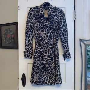 NWT 100% silk 'snow leopard' Burberry trench coat
